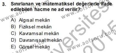 Turistik Alanlarda Mekan Tasarımı Dersi 2014 - 2015 Yılı (Final) Dönem Sonu Sınav Soruları 3. Soru
