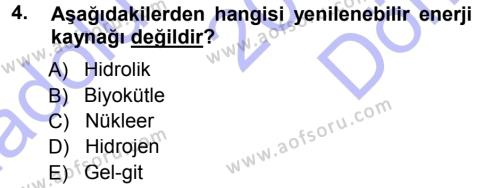 Ekoloji ve Turizm Dersi 2012 - 2013 Yılı Dönem Sonu Sınavı 4. Soru