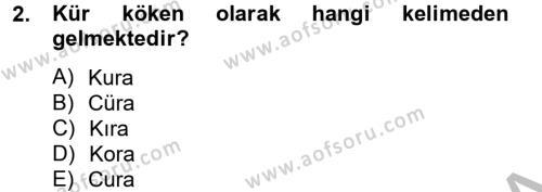 Termal ve Spa Hizmetleri Dersi 2012 - 2013 Yılı Dönem Sonu Sınavı 2. Soru