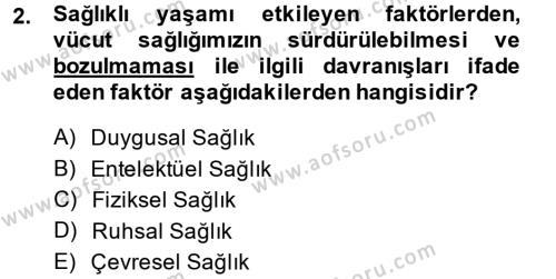 Termal ve Spa Hizmetleri Dersi 2013 - 2014 Yılı Ara Sınavı 2. Soru