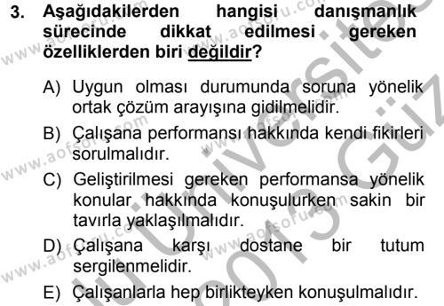 Performans ve Kariyer Yönetimi Dersi 2012 - 2013 Yılı Ara Sınavı 3. Soru