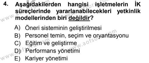 Performans ve Kariyer Yönetimi Dersi 2012 - 2013 Yılı Ara Sınavı 4. Soru