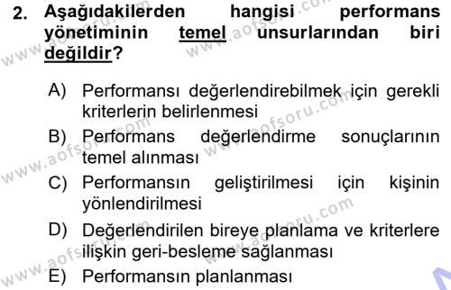 Performans ve Kariyer Yönetimi Dersi 2015 - 2016 Yılı Ara Sınavı 2. Soru
