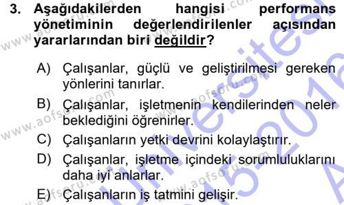 Performans ve Kariyer Yönetimi Dersi 2015 - 2016 Yılı Ara Sınavı 3. Soru