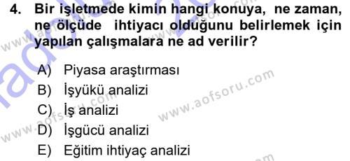Performans ve Kariyer Yönetimi Dersi 2015 - 2016 Yılı Ara Sınavı 4. Soru