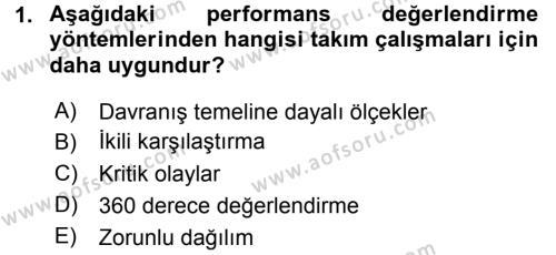 Performans ve Kariyer Yönetimi Dersi 2015 - 2016 Yılı Dönem Sonu Sınavı 1. Soru