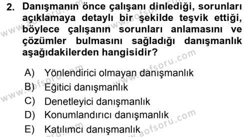 Performans ve Kariyer Yönetimi Dersi 2015 - 2016 Yılı Dönem Sonu Sınavı 2. Soru