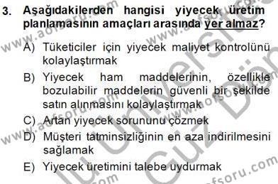 Yiyecek ve İçecek Yönetimi Dersi 2013 - 2014 Yılı (Final) Dönem Sonu Sınav Soruları 3. Soru