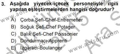 Konaklama İşletmeciliği Bölümü 7. Yarıyıl Yiyecek ve İçecek Yönetimi Dersi 2016 Yılı Güz Dönemi Ara Sınavı 3. Soru