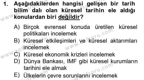 Kültür Tarihi Dersi 2012 - 2013 Yılı Ara Sınavı 1. Soru