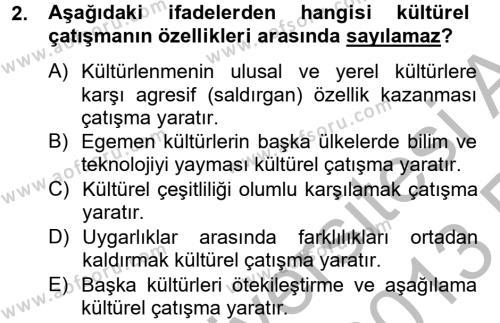 Felsefe Bölümü 2. Yarıyıl Kültür Tarihi Dersi 2013 Yılı Bahar Dönemi Ara Sınavı 2. Soru