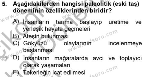 Felsefe Bölümü 2. Yarıyıl Kültür Tarihi Dersi 2013 Yılı Bahar Dönemi Ara Sınavı 5. Soru