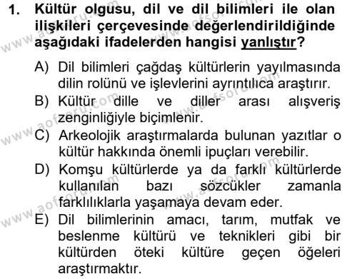 Kültür Tarihi Dersi 2012 - 2013 Yılı Dönem Sonu Sınavı 1. Soru