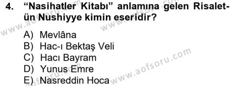 Kültür Tarihi Dersi 2012 - 2013 Yılı Dönem Sonu Sınavı 4. Soru