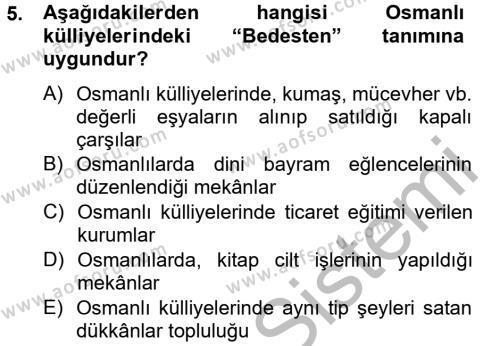 İngilizce Öğretmenliği Bölümü 2. Yarıyıl Kültür Tarihi Dersi 2013 Yılı Bahar Dönemi Dönem Sonu Sınavı 5. Soru