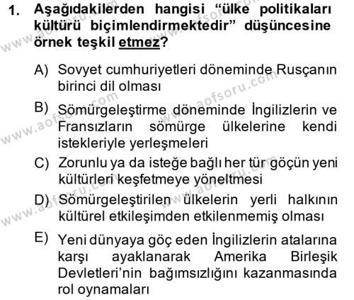 İngilizce Öğretmenliği Bölümü 2. Yarıyıl Kültür Tarihi Dersi 2014 Yılı Bahar Dönemi Ara Sınavı 1. Soru
