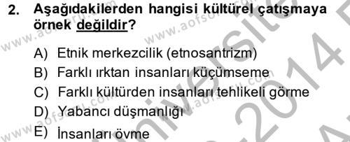 İngilizce Öğretmenliği Bölümü 2. Yarıyıl Kültür Tarihi Dersi 2014 Yılı Bahar Dönemi Ara Sınavı 2. Soru