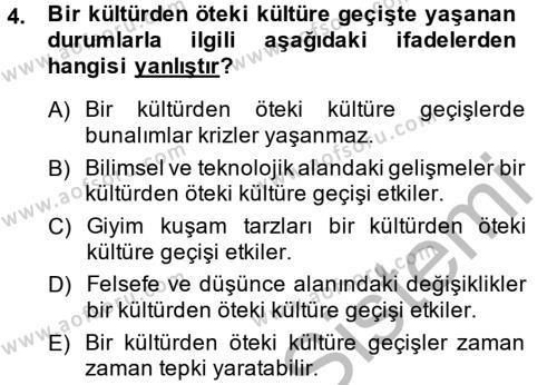 Konaklama İşletmeciliği Bölümü 6. Yarıyıl Kültür Tarihi Dersi 2014 Yılı Bahar Dönemi Ara Sınavı 4. Soru