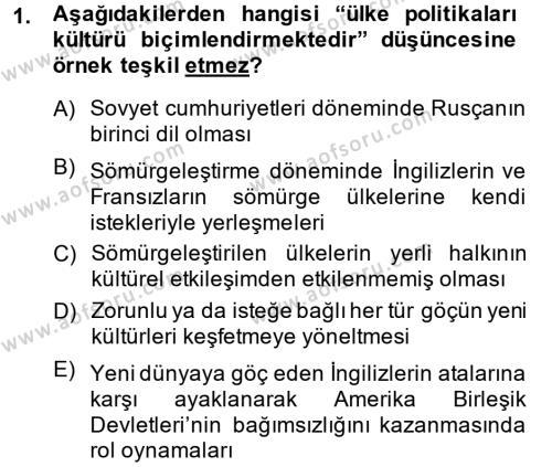 İngilizce Öğretmenliği Bölümü 2. Yarıyıl Kültür Tarihi Dersi 2014 Yılı Bahar Dönemi Dönem Sonu Sınavı 1. Soru