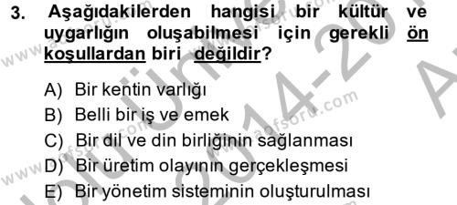 Kültür Tarihi Dersi 2014 - 2015 Yılı Ara Sınavı 3. Soru