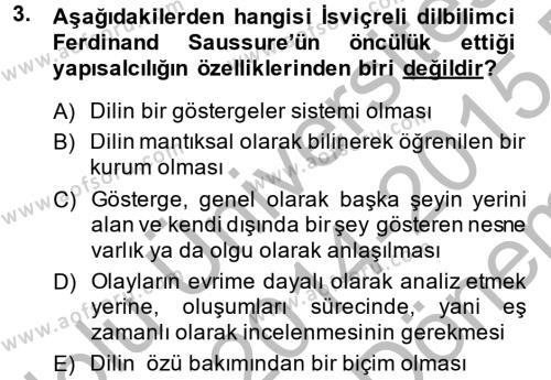 Kültür Tarihi Dersi 2014 - 2015 Yılı Dönem Sonu Sınavı 3. Soru