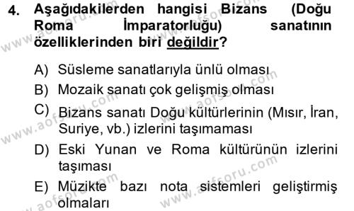 Kültür Tarihi Dersi 2014 - 2015 Yılı Dönem Sonu Sınavı 4. Soru