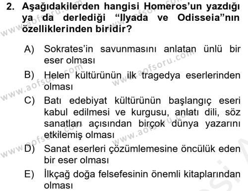 Kültür Tarihi Dersi 2015 - 2016 Yılı Ara Sınavı 2. Soru