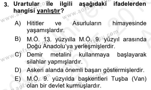 Kültür Tarihi Dersi 2015 - 2016 Yılı Ara Sınavı 3. Soru