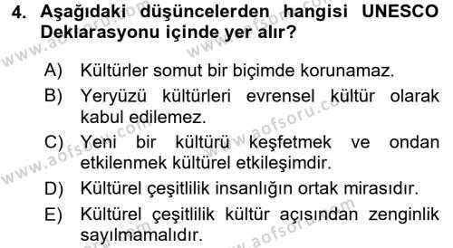 Kültür Tarihi Dersi 2015 - 2016 Yılı Ara Sınavı 4. Soru