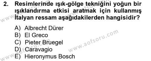 Görsel Kültür Dersi 2012 - 2013 Yılı Dönem Sonu Sınavı 2. Soru