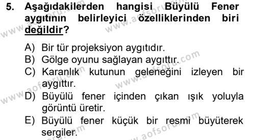Marka İletişimi Bölümü 4. Yarıyıl Görsel Kültür Dersi 2013 Yılı Bahar Dönemi Dönem Sonu Sınavı 5. Soru