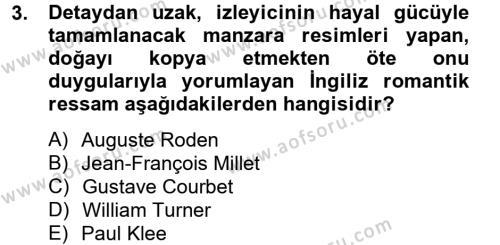 Görsel Kültür Dersi 2013 - 2014 Yılı Dönem Sonu Sınavı 3. Soru