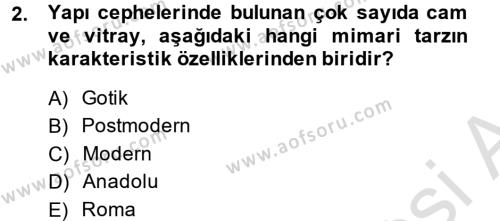 Görsel Kültür Dersi 2013 - 2014 Yılı Tek Ders Sınavı 2. Soru