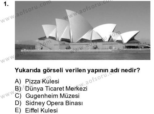 Görsel Kültür Dersi 2014 - 2015 Yılı Dönem Sonu Sınavı 1. Soru