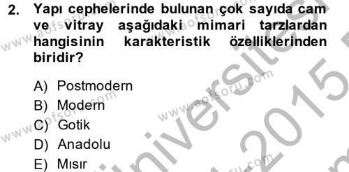 Görsel Kültür Dersi 2014 - 2015 Yılı Dönem Sonu Sınavı 2. Soru