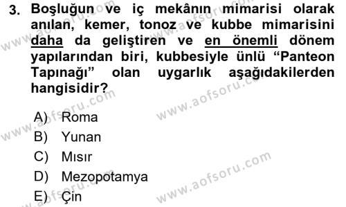 Görsel Kültür Dersi 2015 - 2016 Yılı Ara Sınavı 3. Soru