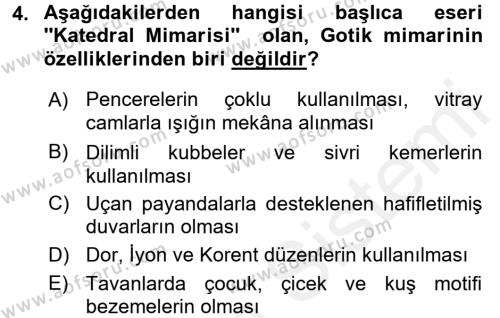 Görsel Kültür Dersi 2015 - 2016 Yılı Ara Sınavı 4. Soru