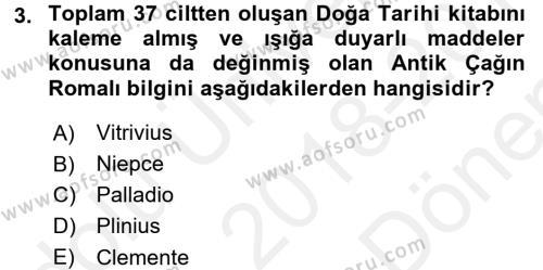 Görsel Kültür Dersi 2018 - 2019 Yılı Dönem Sonu Sınavı 3. Soru