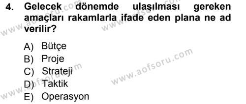 Kamu Yönetimi Bölümü 3. Yarıyıl Yönetim Bilimi I Dersi 2014 Yılı Güz Dönemi Tek Ders Sınavı 4. Soru