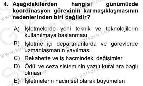 Yönetim Bilimi 1 Dersi 2018 - 2019 Yılı (Final) Dönem Sonu Sınav Soruları 4. Soru