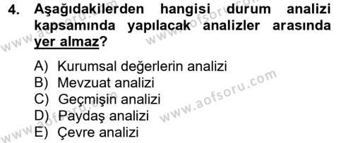 Kamu Yönetimi Bölümü 4. Yarıyıl Yönetim Bilimi II Dersi 2013 Yılı Bahar Dönemi Ara Sınavı 4. Soru