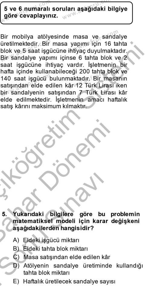 Kamu Yönetimi Bölümü 4. Yarıyıl Yönetim Bilimi II Dersi 2014 Yılı Bahar Dönemi Dönem Sonu Sınavı 5. Soru