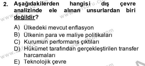 Yönetim Bilimi 2 Dersi 2014 - 2015 Yılı Ara Sınavı 2. Soru
