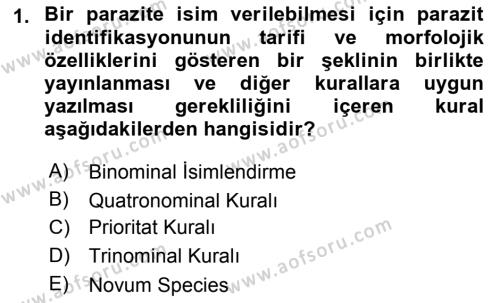 Temel Veteriner Parazitoloji Dersi 2015 - 2016 Yılı (Vize) Ara Sınav Soruları 1. Soru