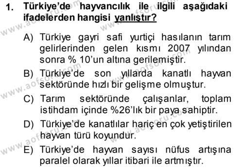 Temel Zootekni Dersi 2013 - 2014 Yılı (Vize) Ara Sınav Soruları 1. Soru