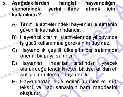 Temel Zootekni Dersi 2013 - 2014 Yılı (Vize) Ara Sınav Soruları 2. Soru