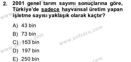 Temel Zootekni Dersi 2014 - 2015 Yılı Ara Sınavı 2. Soru