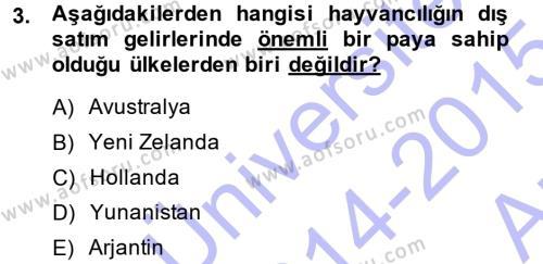 Temel Zootekni Dersi 2014 - 2015 Yılı Ara Sınavı 3. Soru