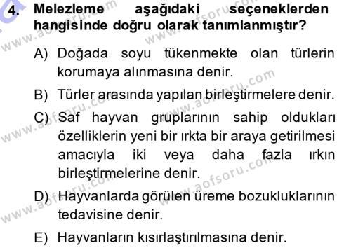 Temel Zootekni Dersi 2014 - 2015 Yılı Ara Sınavı 4. Soru