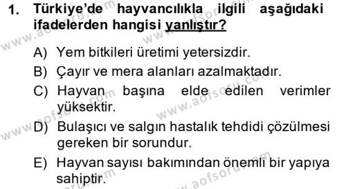 Temel Zootekni Dersi 2014 - 2015 Yılı (Final) Dönem Sonu Sınav Soruları 1. Soru